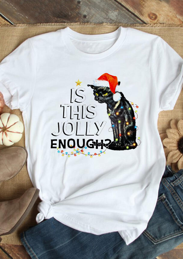 Black Cat Is This Jolly Enough Lights T-Shirt Tee – White