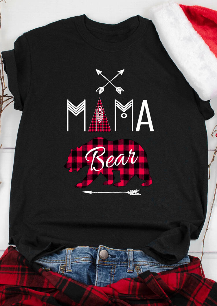 Mama Bear Plaid Printed Splicing T-Shirt Tee – Black
