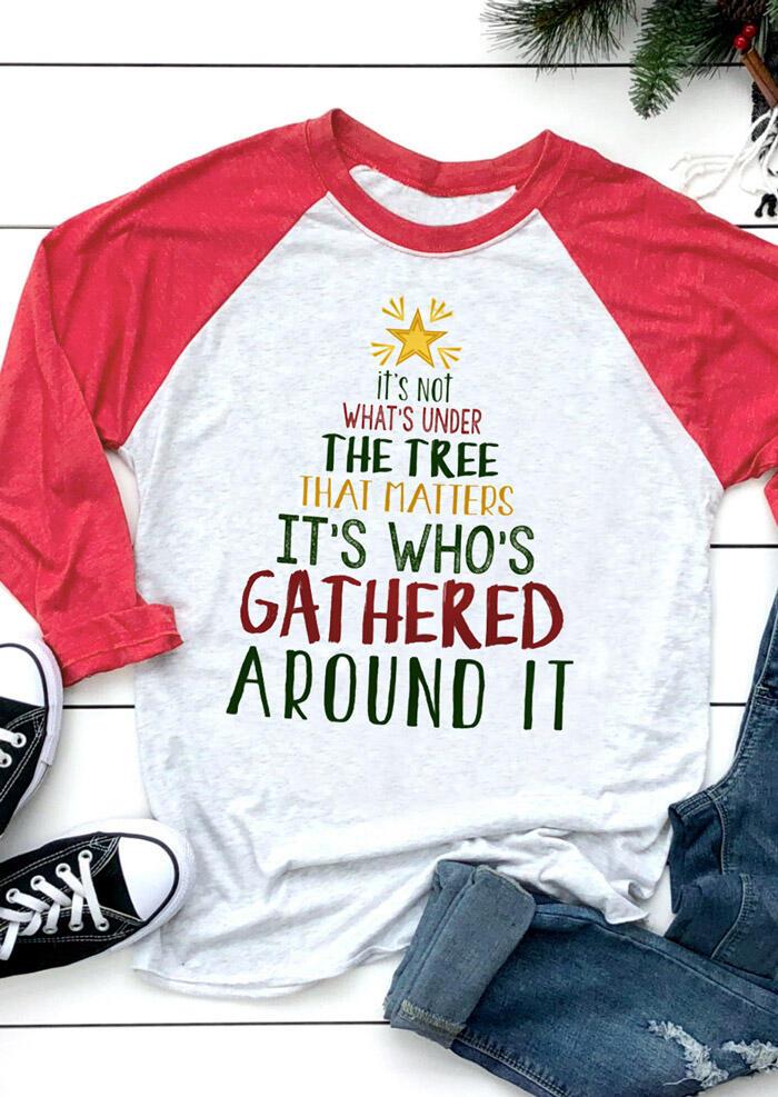 Christmas It's Who's Gathered Around It T-Shirt Tee – Light Grey