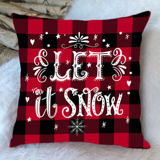 Christmas Plaid Let It Snow Pillowcase without Pillow