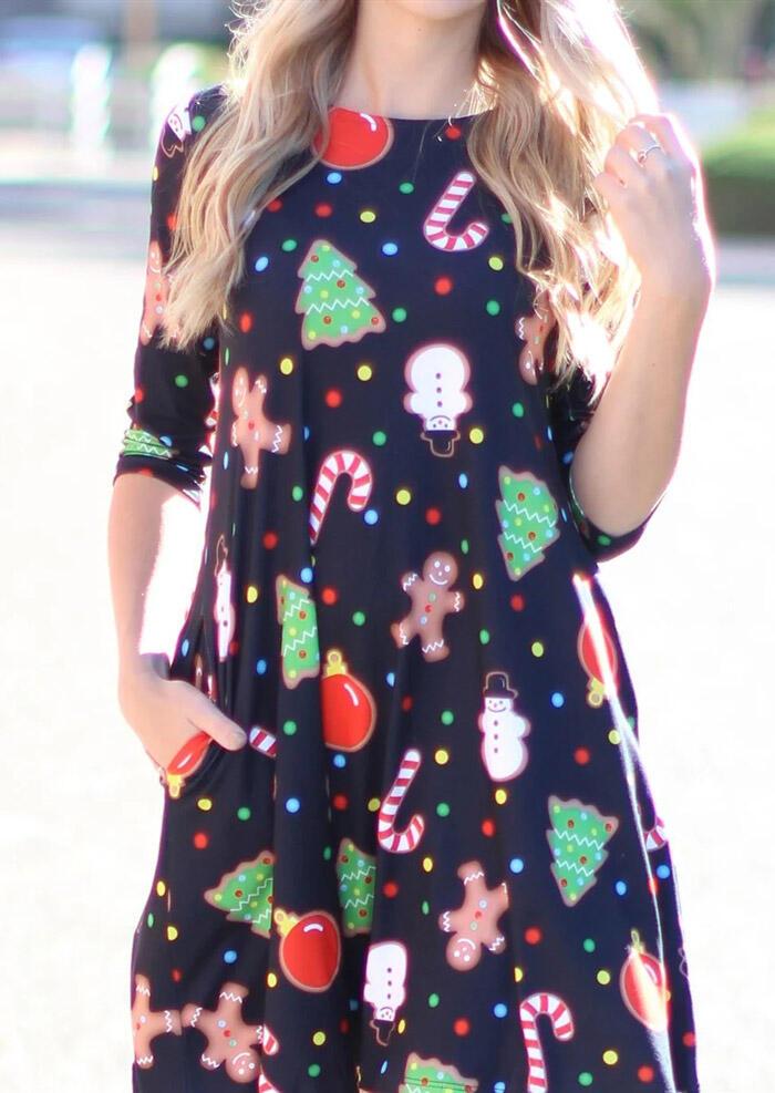 Christmas Trees Snowman Pocket Mini Dress – Black