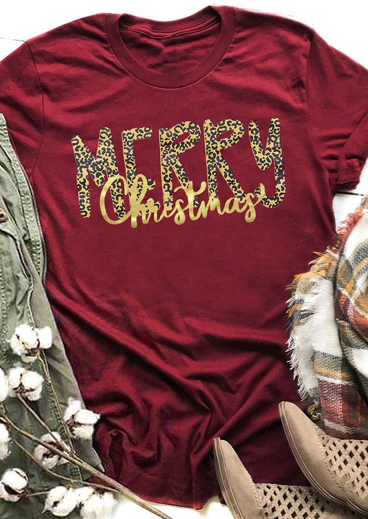 Leopard Printed Merry Christmas T-Shirt Tee – Burgundy
