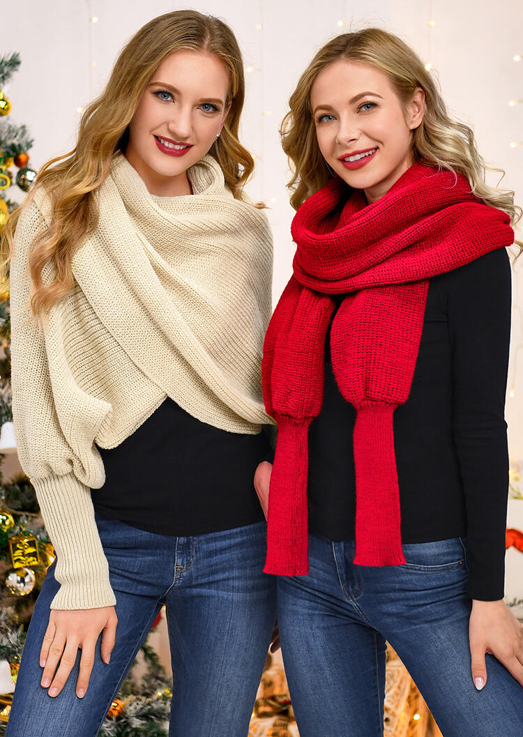Solid Long Sleeve Knitted Warm Shawl Scarf