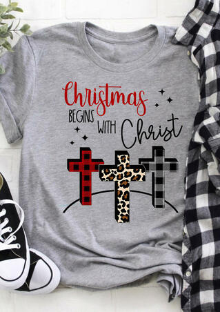 Christmas Begins With Christ Leopard Plaid Printed T-Shirt Tee - Light Grey