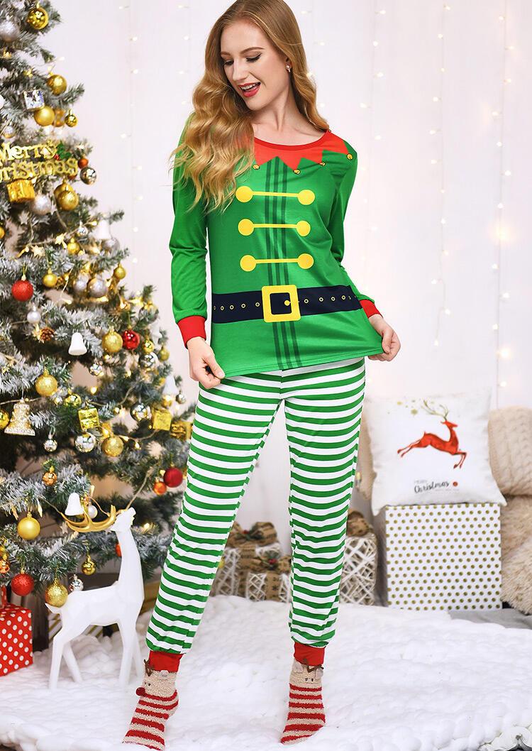 Striped Printed Pajamas Set – Green