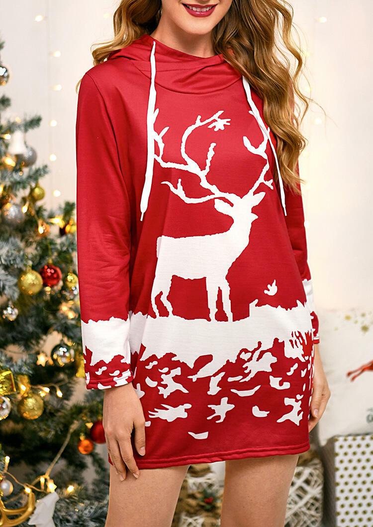 Reindeer Hooded Mini Dress – Red