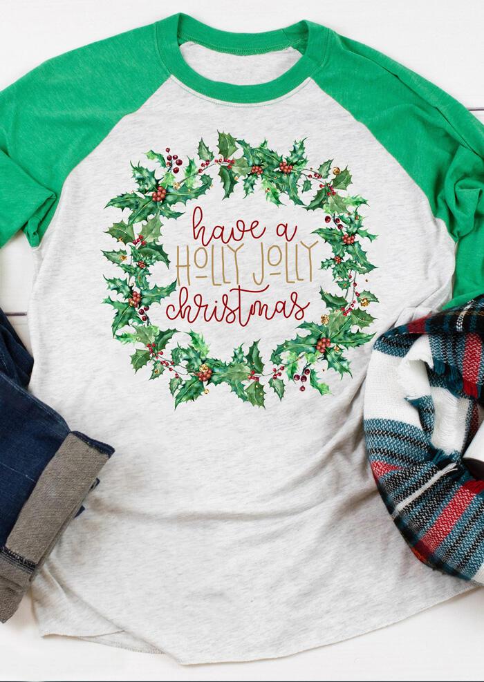 Have A Holly Jolly Christmas T-Shirt Tee – Light Grey