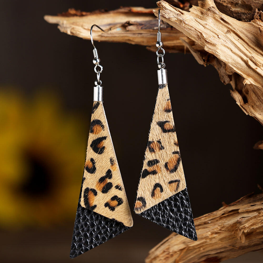 Leopard Printed Triangle-Shaped Leather Earrings