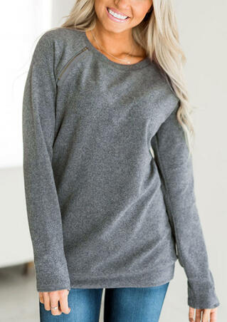 Solid O-Neck Zipper Sweatshirt without Necklace - Gray