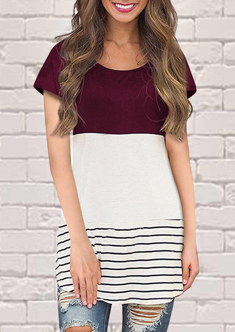 Striped Lace Splicing Blouse – Burgundy