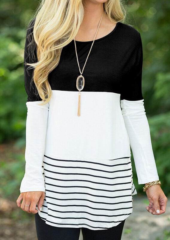 Striped Lace Splicing Long Sleeve Blouse without Necklace – Black