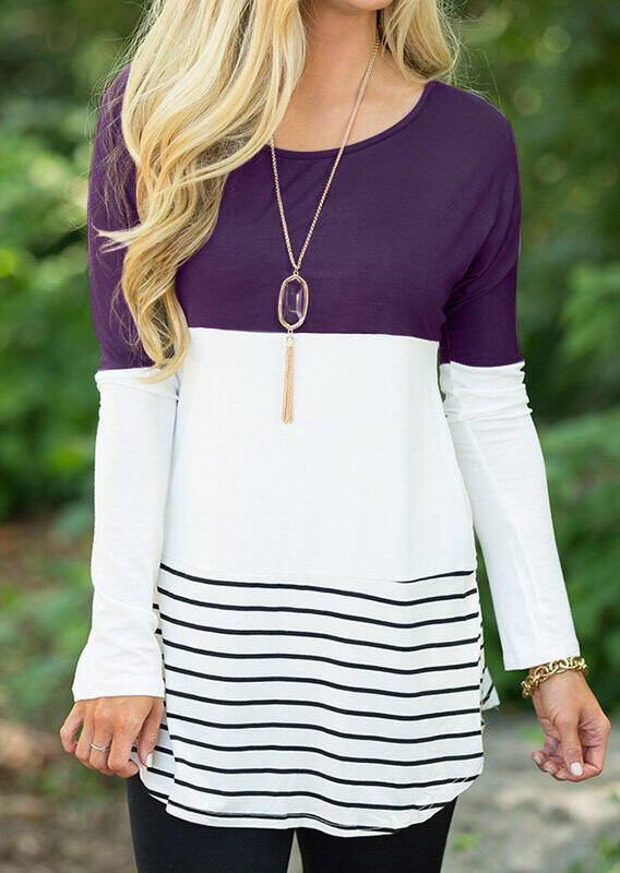 Striped Lace Splicing Long Sleeve Blouse without Necklace – Purple