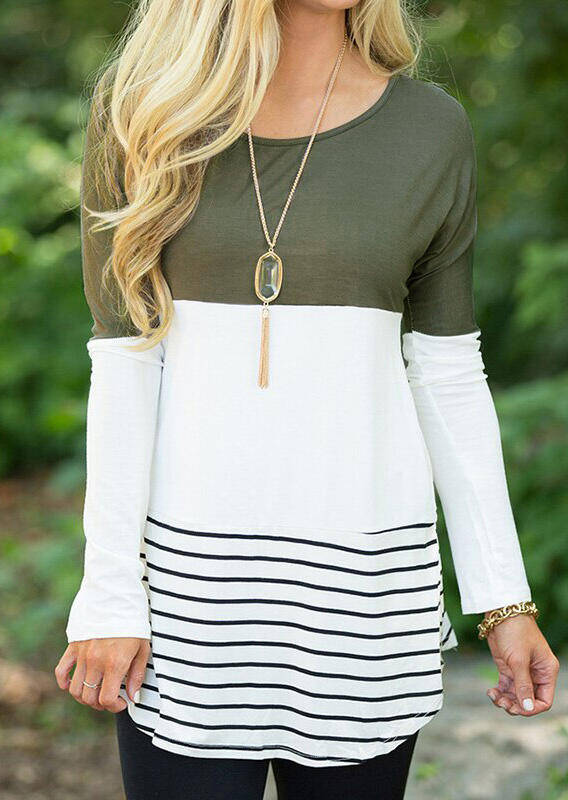 Striped Lace Splicing Long Sleeve Blouse without Necklace – Army Green
