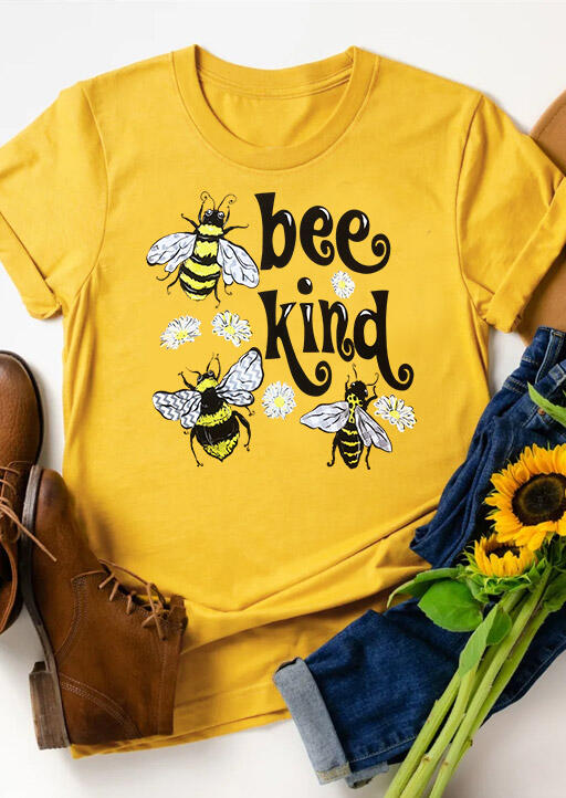 Bee Kind Floral O-Neck T-Shirt Tee – Yellow