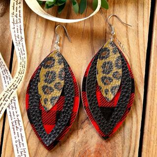 Plaid Leopard Printed Three-Layered Leather Earrings