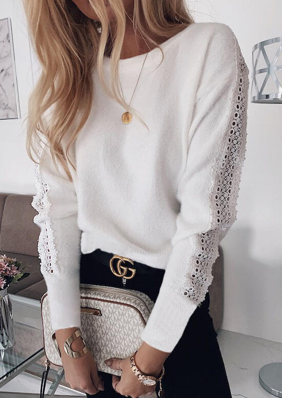 Lace Splicing Open Back Sweater without Necklace – White