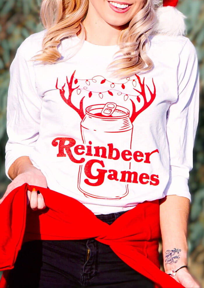 Tees T-shirts Christmas Reinbeer Games O-Neck T-Shirt Tee in White. Size: S,M,L фото