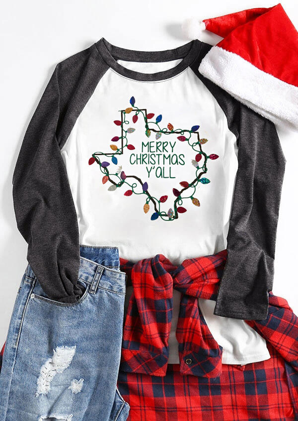 Map of Texas Christmas Lights Merry Christmas Y'all O-Neck T-Shirt фото