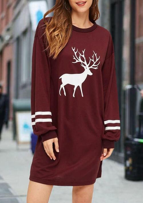 Reindeer O-Neck Mini Dress – Burgundy