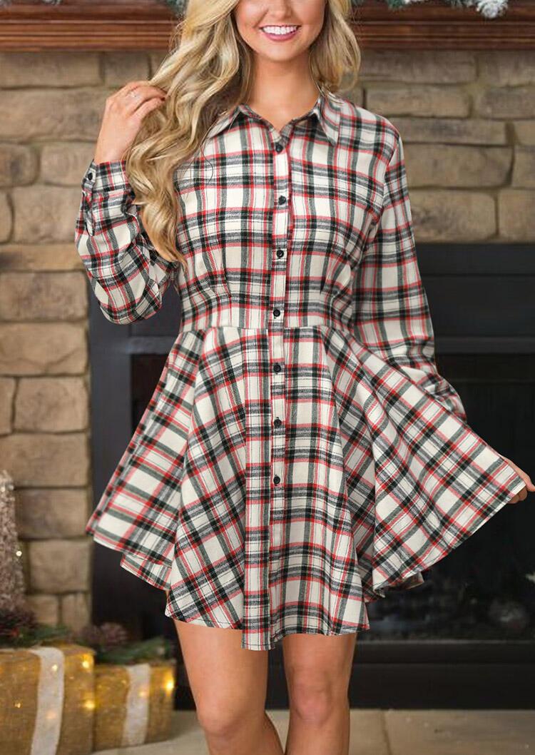 Mini Dresses Plaid Printed Button Turn-down Collar Mini Dress in Plaid. Size: S фото