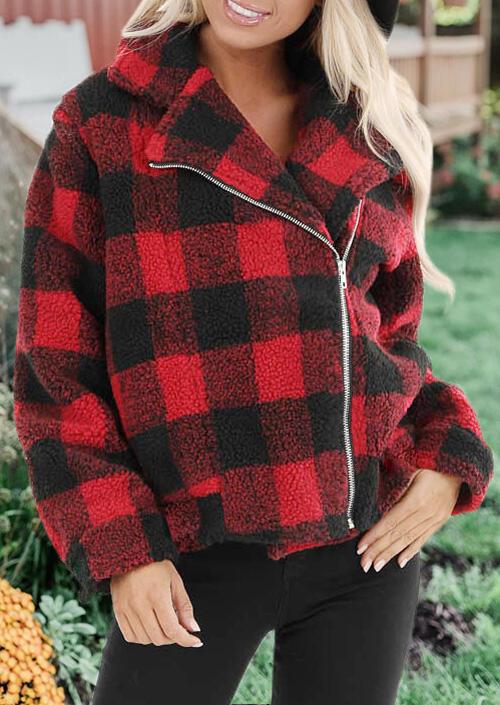 Plaid Plush Zipper Long Sleeve Coat – Red