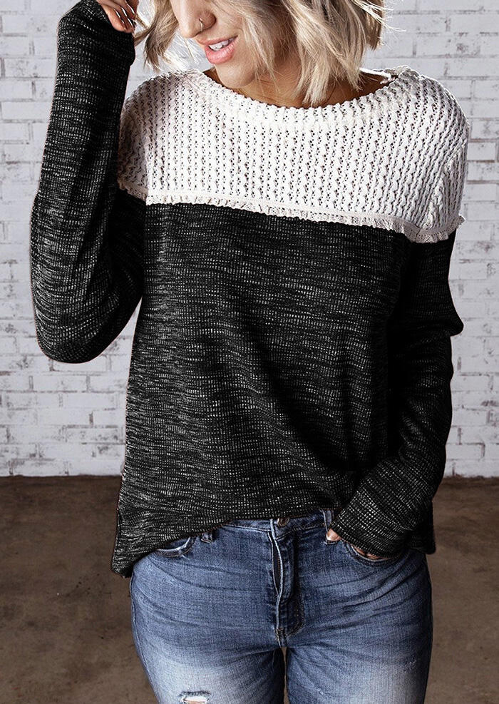 Color Block Knitted Splicing Blouse – Black