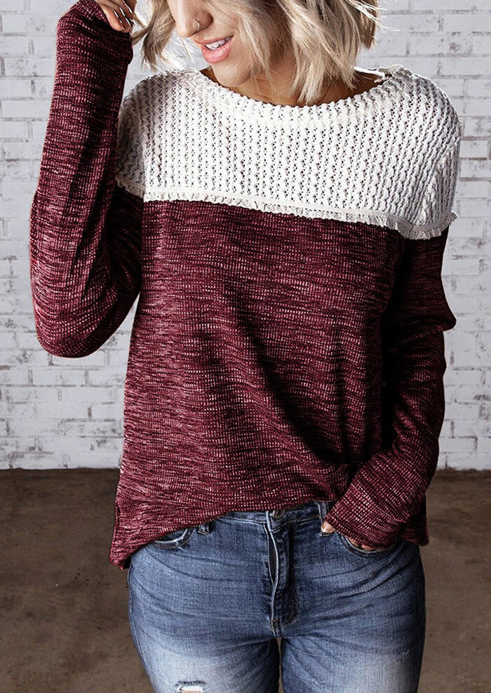 Color Block Knitted Splicing Blouse – Burgundy