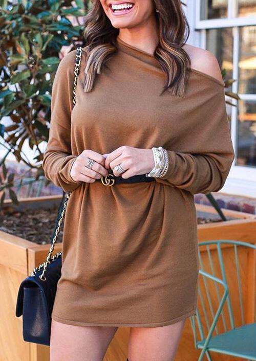 Solid One Shoulder Long Sleeve Mini Dress – Coffee