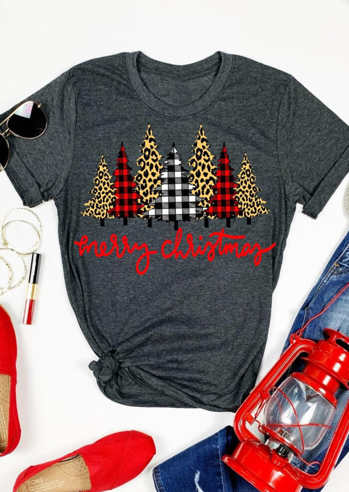 Merry Christmas Trees Plaid Leopard Printed T-Shirt Tee - Dark Grey фото