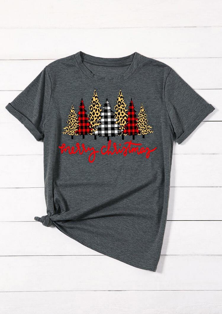FairySeason / Merry Christmas Trees Plaid Leopard Printed T-Shirt Tee - Dark Grey