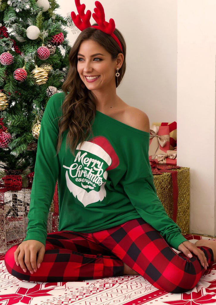 Merry Christmas Everyone Plaid Printed Pajamas Set – Green