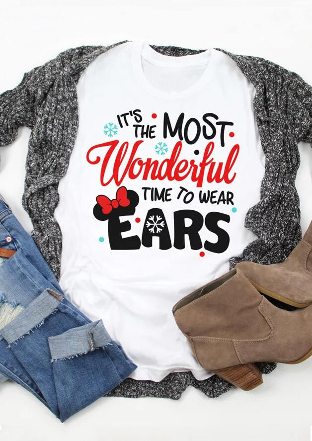 Most Wonderful Time To Wear Ears T-Shirt Tee – White