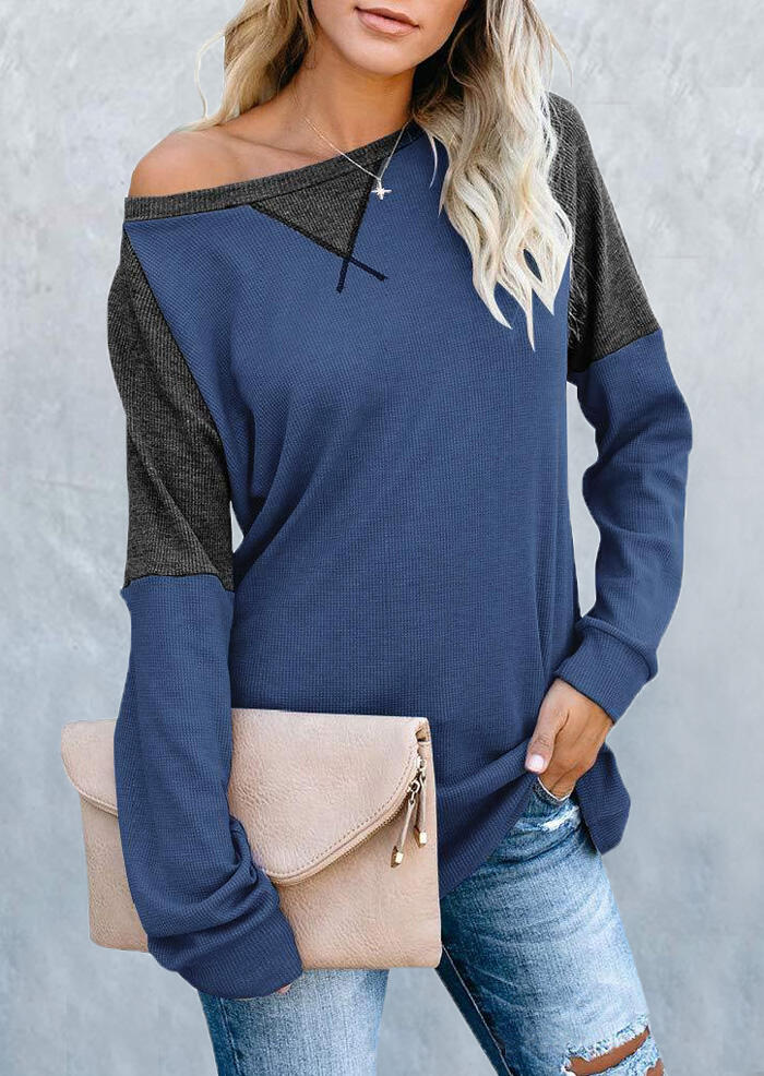 Color Block Splicing Blouse without Necklace – Blue