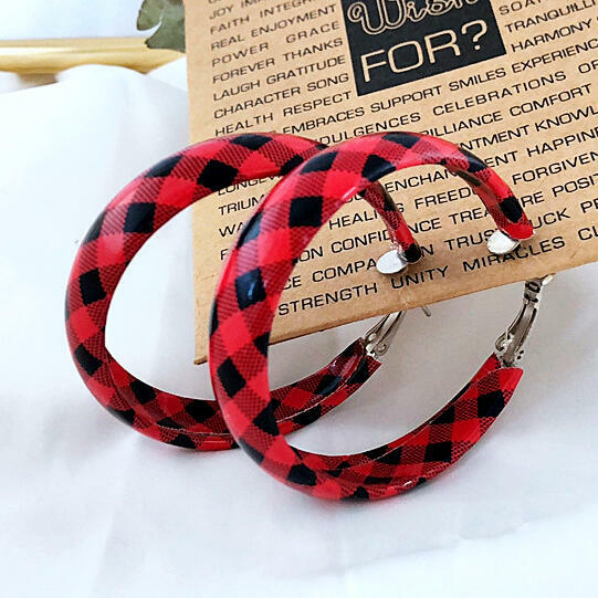 Women's Plaid Round Leather Earrings фото