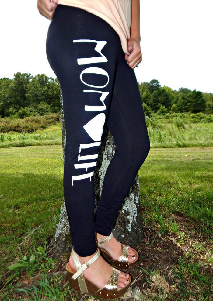 Leggings Mom Life Elastic Waist Skinny Leggings in Black. Size: S,L фото