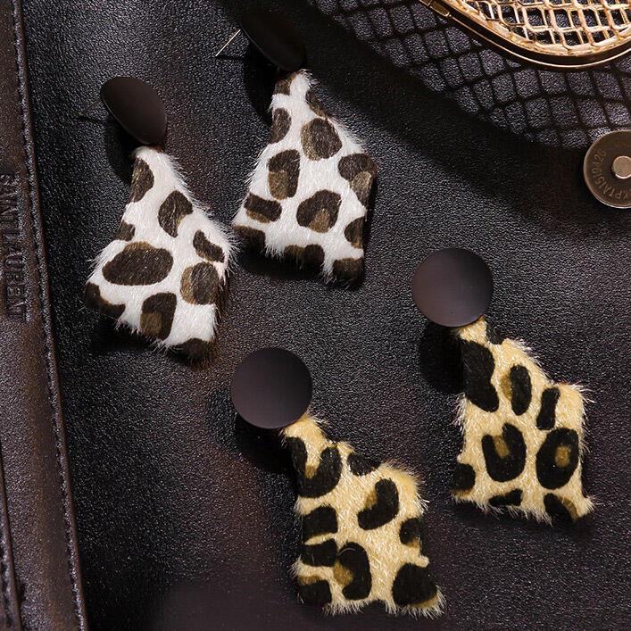 Earrings Vintage Geometric Leopard Printed Earrings. Size: One Size фото