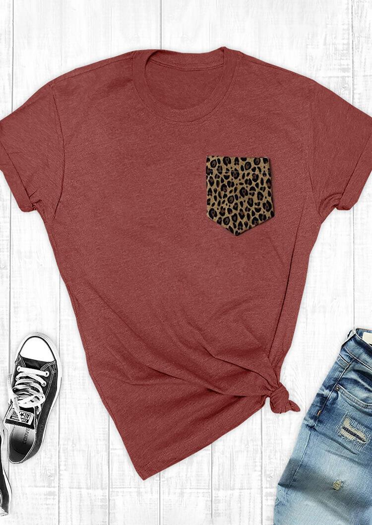 Leopard Printed Splicing Pocket T-Shirt Tee - Brick Red фото