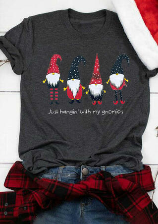 Just Hangin' with My Gnomies T-Shirt Tee - Dark Grey