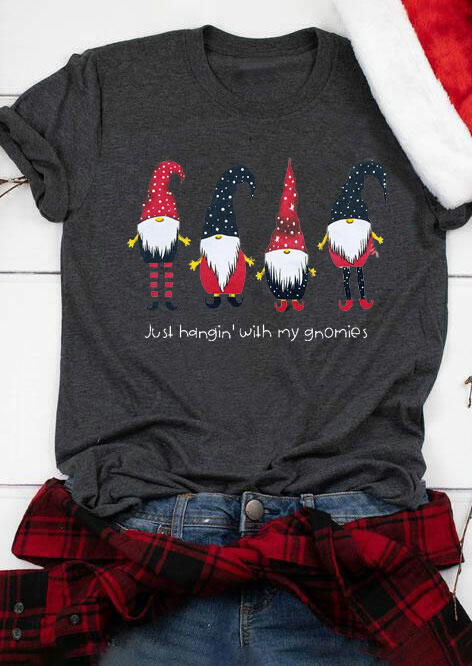Christmas Just Hangin' with My Gnomies T-Shirt Tee - Dark Grey фото