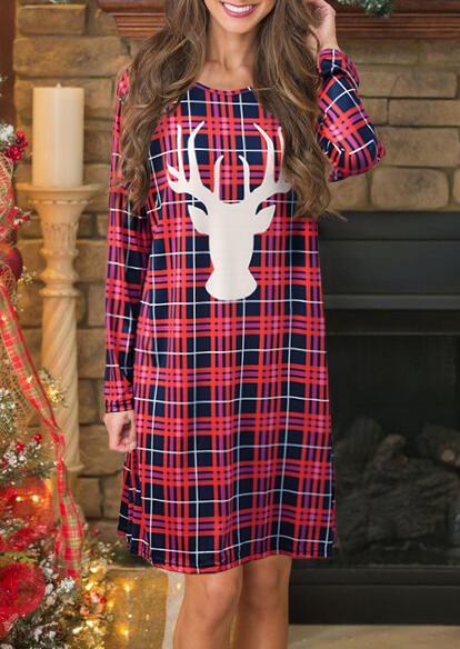 Reindeer Plaid Printed Mini Dress