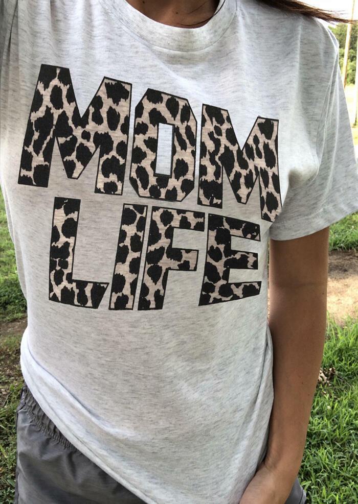 Leopard Printed Mom Life T-Shirt Tee