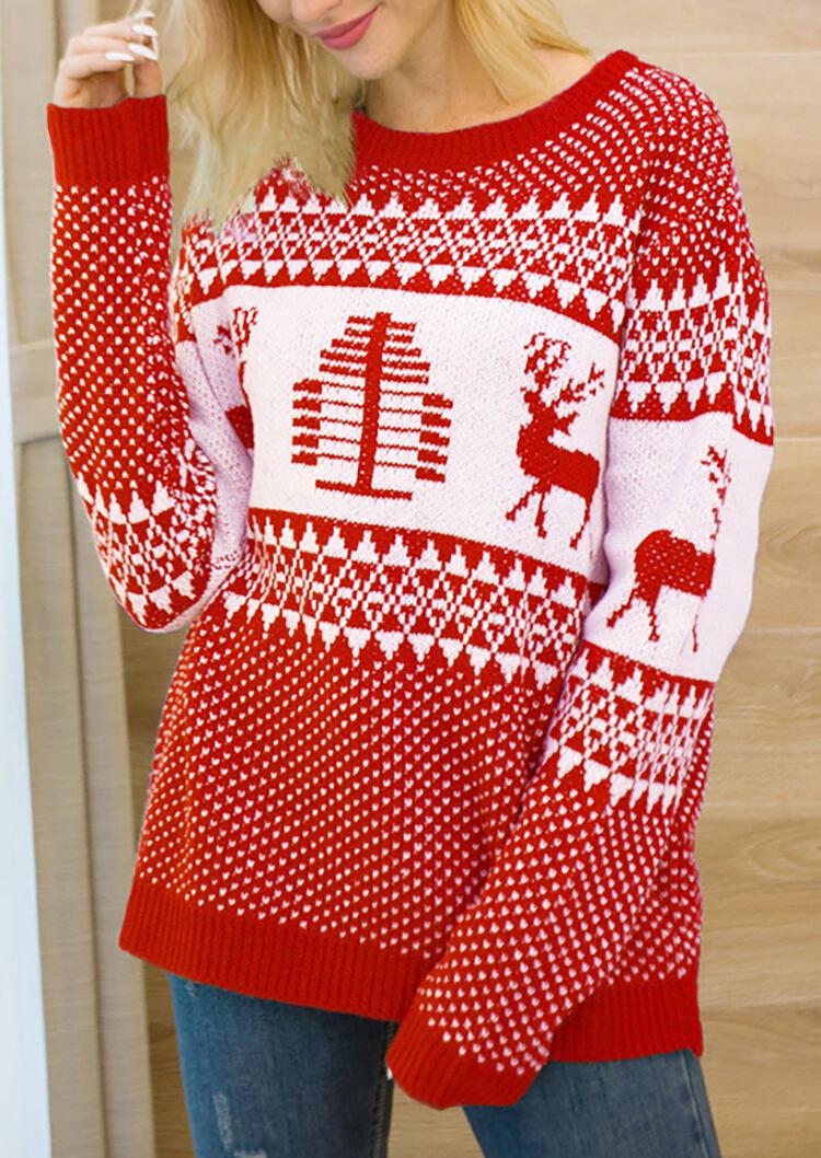 Reindeer Geometric Printed Sweater – Red