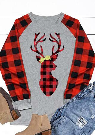 Christmas Plaid Splicing Reindeer T-Shirt Tee - Gray