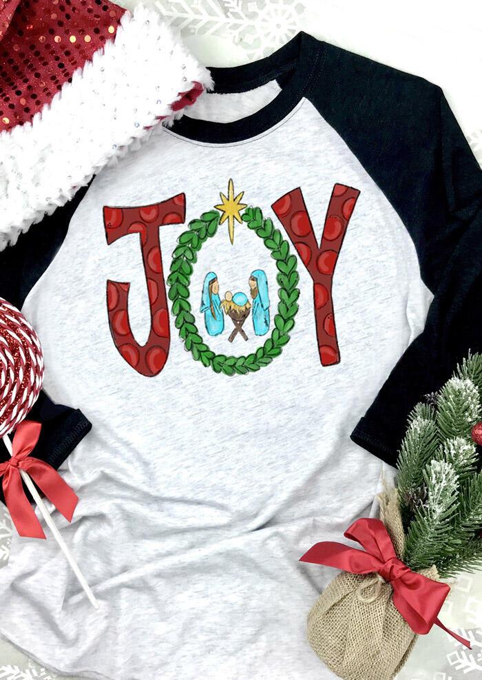 Christmas Joy O-Neck T-Shirt Tee – Light Grey