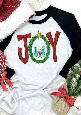Christmas Joy O-Neck T-Shirt Tee - Light Grey