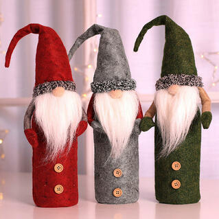 Creative Button Gnomies Doll Wine Bottle Cover