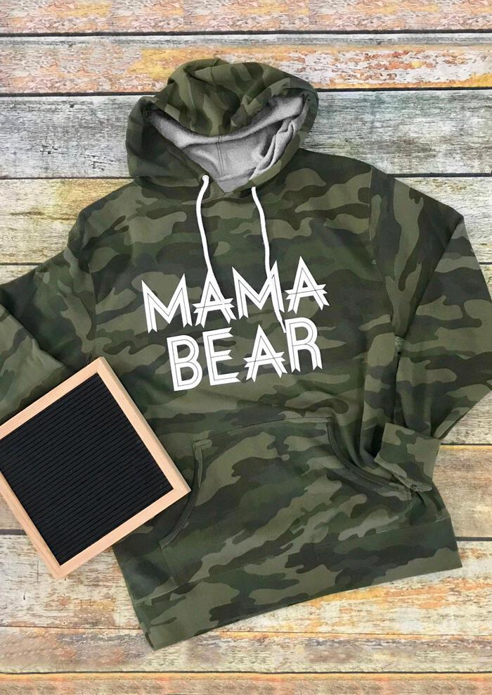 Mama Bear Camouflage Printed Drawstring Kangaroo Pocket Hoodie