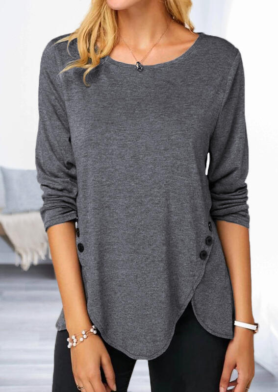 Button Irregular Long Sleeve Blouse without Necklace – Gray