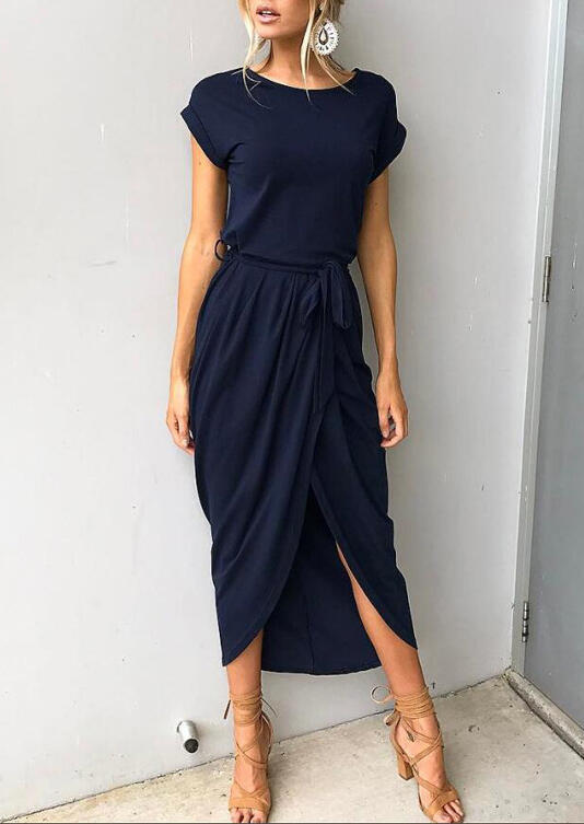 Asymmetric Slit Maxi Dress with Belt - Navy Blue фото