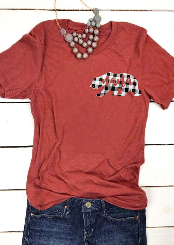 Plaid Nana Bear O-Neck T-Shirt Tee – Orange